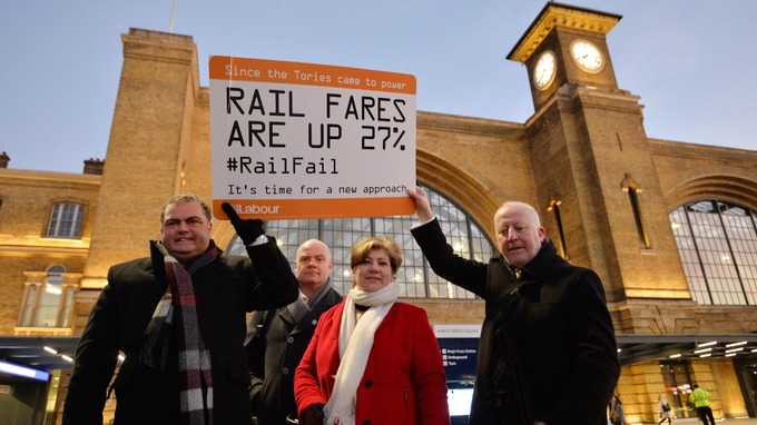 Transport union leaders Manuel Cortes (left) and Steve Hedley (second left) join Labour politicians Emily Thornberry and Andy McDonald (right) outside King's Cross Station in London over the annual rise in rail fares.