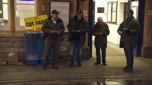 Protestors at Weston-super-Mare station this morning.