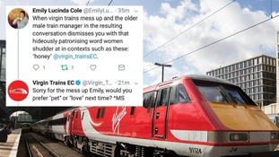 Virgin Trains apologises after 'sexist' tweet to woman who complained about being called 'honey' by staff