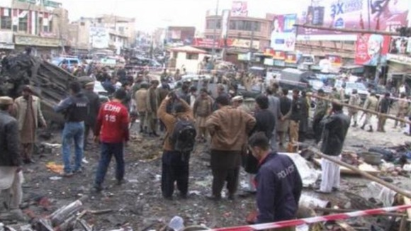 The scene after a bomb exploded in a commercial area in the city of Quetta, Balochistan province