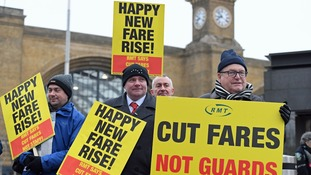 Protests took place at train stations around the country.