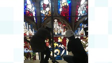 Restoration work on the Great East Window.