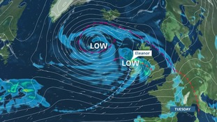 Storm Eleanor will cross the north of the UK with winds gusting up 70 mph in places.