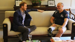 Prince Harry meets 'Rowing Marine' amputee veteran ahead of solo world record attempt