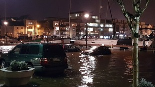 Cars were left partly submerged in heavy flooding in Galway, Ireland.