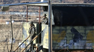 South Korean soldiers at military guard post in Paju, South Korea, near the border with North Korea.