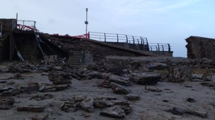 Damage to harbour wall at Portreath near Redruth on Cornwall's north coast.