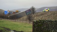 Blow over HGV on the southbound carriage of the M6 at Tebay