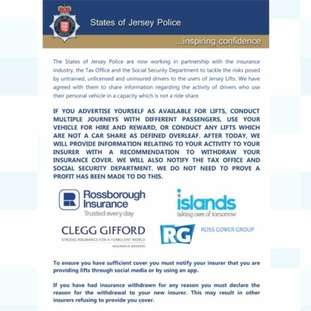 Leaflets released by States of Jersey Police