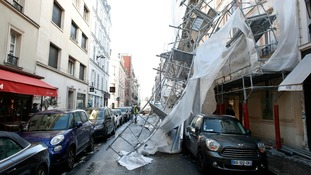 Scaffolding blown over by Eleanor in Paris.