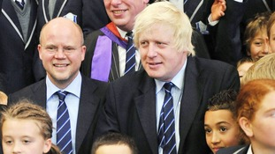 File: Boris Johnson, as mayor of London, with Toby Young (left)