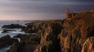 A recovered image of Slains Castle, near Cruden Bay in Aberdeenshire