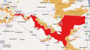 Flood warning issued for riverside properties along the tidal River Yare including Cantley, Brundall and Reedham