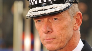 Metropolitan Police Commissioner Bernard Hogan-Howe outside New Scotland Yard