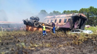 At least 12 people killed in South Africa train crash