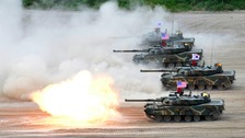Tanks take part in a joint military training exercise between South Korea and the US.