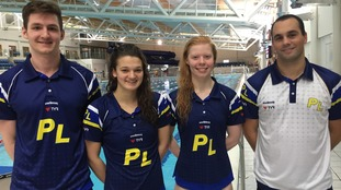 Tom, Jess and Laura with Plymouth Leander's Head Coach Robin Armayan (far right).