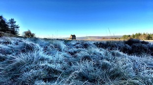 Frost & blue, White Edge Lodge  in the Peak District  KEITH BOWN
