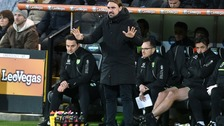 Norwich City manager Daniel Farke gestures on the touchline during the FA Cup, third round match at Carrow Road, Norwich.