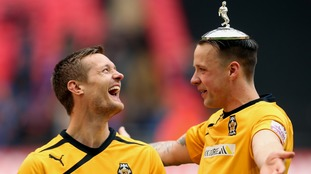 Coulson celebrates winning the FA Trophy in 2014.