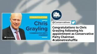 Chris Grayling reshuffle gaffe: Tories congratulate wrong man for new party chairman
