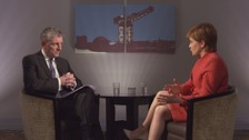 First Minister Nicola Sturgeon interviewed by ITV Border Political Editor Peter MacMahon