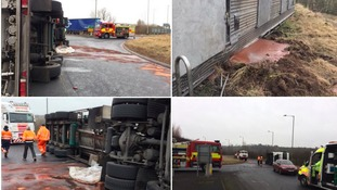 Road forced to close after tanker carrying liquid chocolate overturns