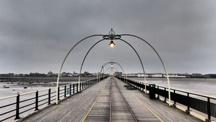 Cold, grey, damp at Southport Pier  STEVE MULVILLE