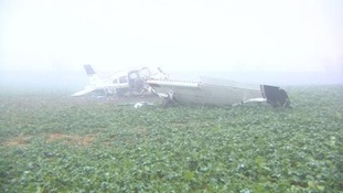 The aircraft came down in a field in Worcestershire.