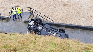 Car ploughs through barrier in Tynemouth