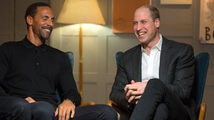 Rio Ferdinand (L) and Prince William at the mental health event.