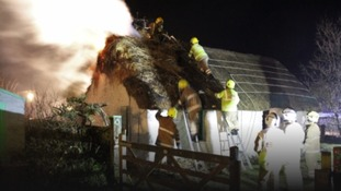 Firefighters tackling the blaze