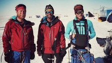 Leo Houlding, Mark Sedon and Jean Burgun at the Union Glacier Camp