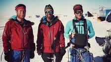Leo Houlding, Mark Sedon and Jean Burgun at the Union Glacier Camp