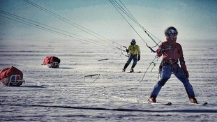 Leo (front) and Jean in ski kiting action on the final day of the Spectre expedition