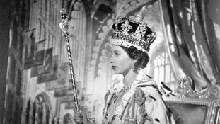 Queen Elizabeth II wearing the Imperial State Crown after her Coronation in 1953.