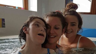 Miya Thirlby (left) with her mum Kerrie and twin Macie
