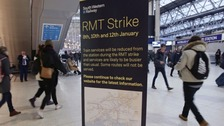 A sign about the strikes.