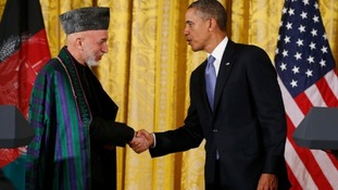 Afghan President Hamid Karzai and US President Barack Obama at the White House today