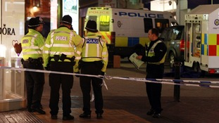 Police cordon of the area where the men where stabbed in Birmingham