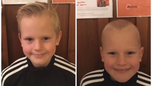 Isaac Boulton, 9, shaved his head to raise money and awareness for charity.