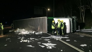 Man arrested after lorry overturned on the M3