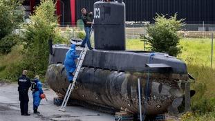 Peter Madsen's submarine UC3 Nautilus on a pier in Copenhagen.