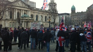 Belfast City Hall is a sea of union flags as Loyalists protest at the council's decision not to fly it everyday.