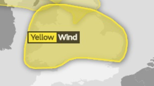 The area affected by the yellow weather warning for strong winds.