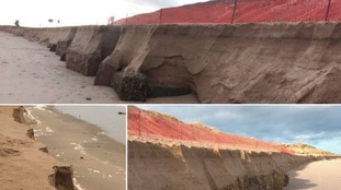 The damaged beach at Winterton-on-Sea