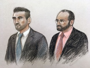 Court artist sketch of Vincent Tappu (left) and Mujahid Arshid
