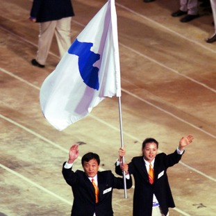 The united Korea flag is not often seen.