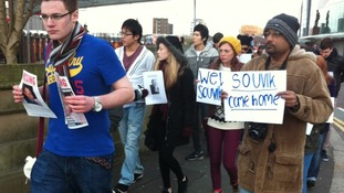 Friends of Souvik Pal march through Old Trafford