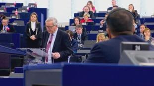 Jean-Claude Juncker was speaking at the European Parliament.